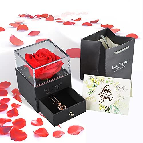 Floridliving Rosa eterna Regalos, Rosa eterna Hecha a Mano con Colgante Mujer de Amor en 100 Idiomas Caja, Regalos de Rosas para Siempre para Ella en cumpleaños, Aniversario, día de la Madre (