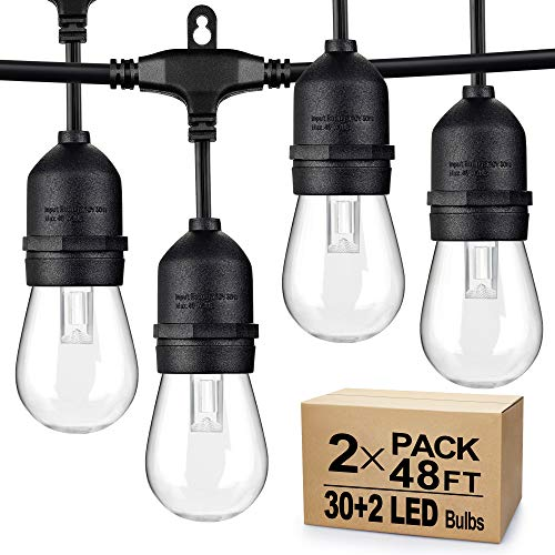 2-Pack Dimmable LED Outdoor String Lights for Patio, IP65 Waterproof Hanging Edison Bulbs, 5000K Daylight White, 48FT Commercial Grade Cafe String Lights for Christmas Holiday Party (Total 96FT)