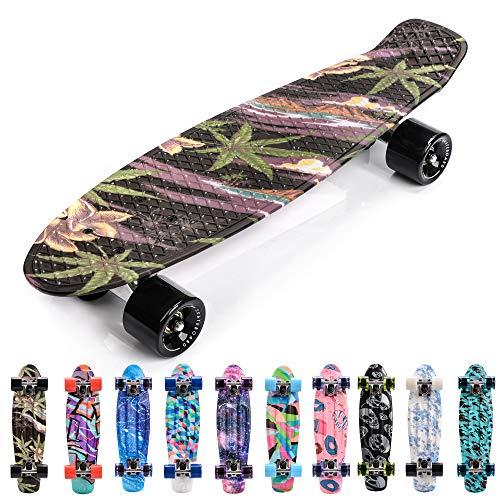 Meteor Skateboard Mini Cruiser Retro Board Completo con Cuscinetti ABEC-7 e Ruote PU Ideale per Bambini Adolescenti e Adulti Ragazzo e Ragazza (Flowers Black)