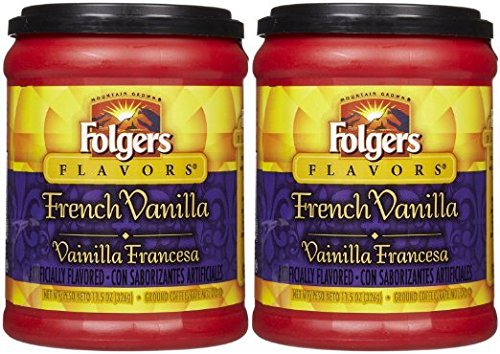 Fresh Taste of Folgers Coffee, French Vanilla Flavored Ground Coffee, Mellow & Smooth Flavor, 11.5 Oz Canister - (2 pk)