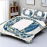 Juego de funda nórdica, diseño de fuente temática de follaje de naturaleza tropical inspirado en la primavera Q y marco decorativo Juego de ropa de cama de 3 piezas con 2 fundas de almohada, azul amar