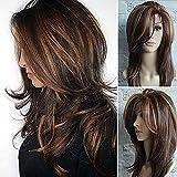 Peluca larga hasta los hombros en capas, peluca marrón claro, fibra de pelo sintético, pelucas multicolores resaltadas para mujeres para