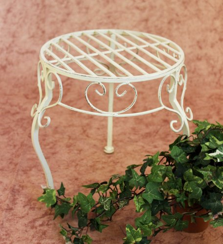 DanDiBo Blumenhocker Metall Weiß Rund 30 cm Blumenständer 20218 Pflanzenständer Beistelltisch Klein