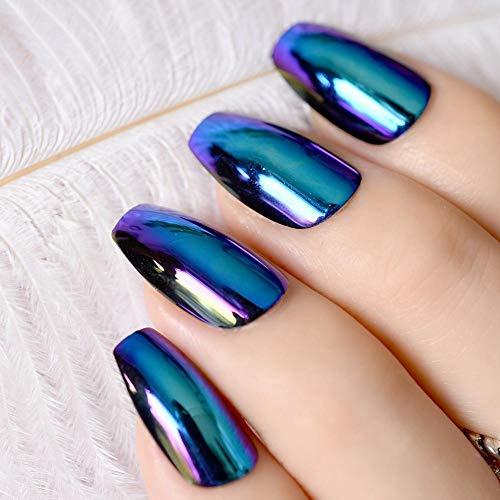 CLOAAE Ballerina Coffin Nail Tips Mirror Effect Chrome Reflection False Nails Magic Mirror Effect Holo Blue Purple False Nails
