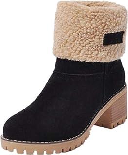 17f3b75e3ce2 NEOKER Femme Bottes de Neige Fourrure Chaud Mode Courts avec Doublure  Bottines Haut Talon Hiver Chaussures