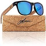 glozzi Sonnenbrille Herren und Damen Holz Polarisiert und Entspiegelt UV400 Blau Verspiegelt mit Holzbügeln aus Zebrano und Brillenetui aus Kork