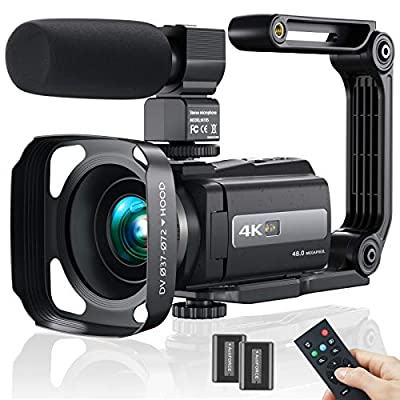 Video Camera Camcorder, 4K WiFi Ultra HD 48MP Vlogging Recorder with IPS Touch Screen, IR Night Shot Digital Camcorder with Stabilizer, Microphone, 2.4 G Remote Control, Hood, 2 Batteries from MELCAM