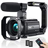 2021 New Upgraded Video Camera Camcorder, 4K WiFi Ultra HD 48MP Vlogging Recorder with IPS Touch Screen, IR Night Vision Digital Camcorder with Stabilizer, Mic, Remote Control, Lens Hood, 2 Batteries