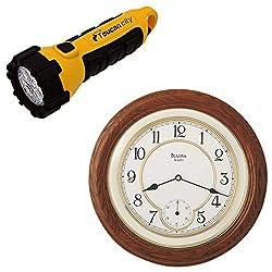 Toucan City LED Flashlight and Bulova 14 in. Solid Oak Wall Clock C4596