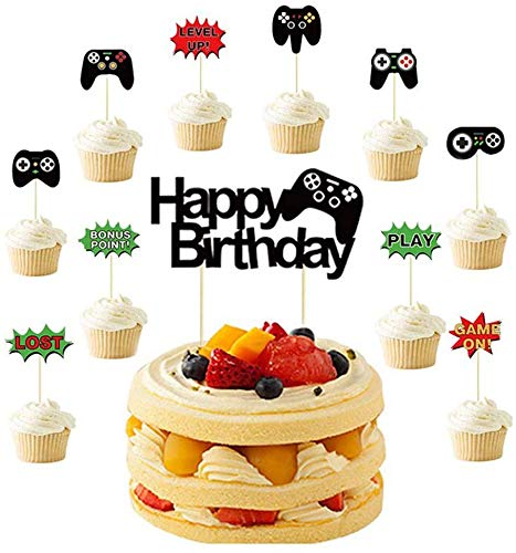 Video Game Controllers Cupcake Toppers-Video Game Birthday Party Supplies,Birthday Anniversary Wedding Engagement Party Decorations