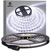 WenTop Waterproof Led Strip Lights SMD 3528 16.4 Ft (5M) 300leds 60leds/m White Flexible Tape Lighting Tape Lights in DC Jack for Boats, Bathroom, Mirror, Ceiling - Not Include Power Supply