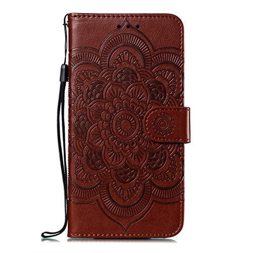 Funda de piel sintética de Karomenic compatible con Huawei P30 Lite, diseño de girasoles y mandala en relieve, marrón