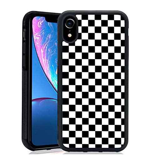 Black White Checkered Flag Case Compatible with iPhone XR,Aesthetic Thin Protective Phone Cases for Women Girls(Checker) 6.1'