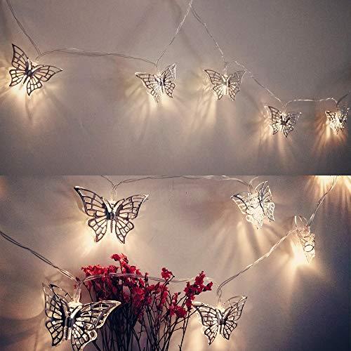 Wankd LED Schmetterling Lichterkette, Metall Schmetterling LED Lichterketten Batteriebetrieben für Zuhause Hochzeit Geburtstag Valentinstag und Saison Dekor