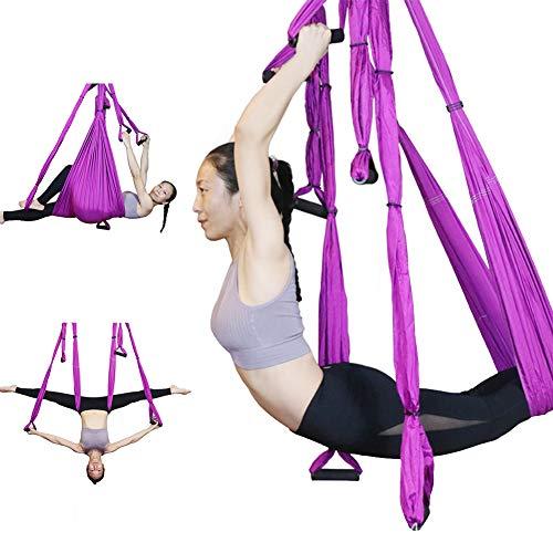 N。A Set de Swing de Yoga aéreo Hamg Mock Trapeze, Antigravity-Inversión Inversiones-Flexibilidad Ultra Strong Antigravity Yoga Sling Herramienta para los Colores del hogar,Púrpura