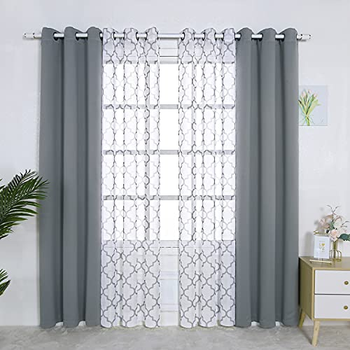 BONZER Mix and Match Curtains - 2 Pieces Moroccan Print Sheer Curtains and 2 Pieces Blackout Curtains for Bedroom Living Room Grommet Window Drapes, 37x84 Inch/Panel, Light Grey, Set of 4 Panels