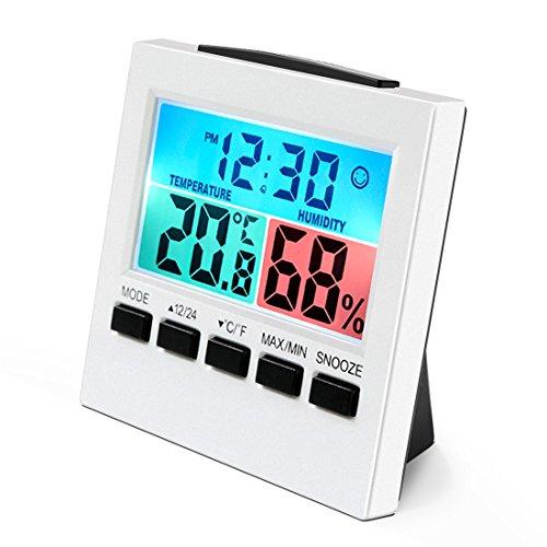 Termómetro Higrómetro, wrcibo Interior higrómetro Digital, de Control climática habitación Aire üerwachtung Medidor de Temperatura y Humedad con Alarma Despertador y Gran Pantalla LCD, Color Blanco