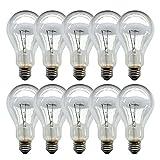 set di 10 lampadine a incandescenza, e27 200 w, colore trasparente