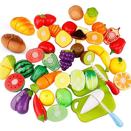 Jingyuu 12Pcs Juguetes Cortar Frutas Verduras,Cocina de Juguete para niños,Regalo de cumpleaños para niños