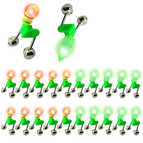LED Night Fishing Rod Bait Alarm Bell 20pcs with Dual Ring Bells Fishing Indicator Fish Bait Alarm Portable Fishing Accessories Bait Alarm Bell Rod Clip Tip for Fishing(10 Red Lights, 10 Green Lights)