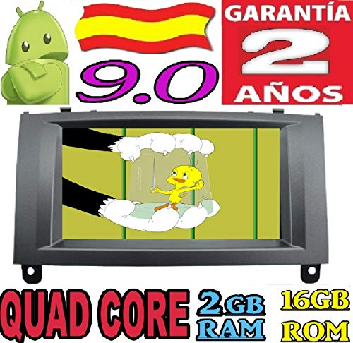 Peugeot 407 Android 10.0 Quad Core 2GB RAM 16 GB ROM GPS Radio Coche DVD AUTORADIO WiFi 3g 4g navi navegador AÑO: 2004 2005 2006 2007 2008 2009 2010 (Gris)