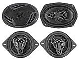 (2) Rockville RV69.4A 6x9 1000w 4-Way Car Speakers+(2) 3.5' 200w 3-Way Speakers
