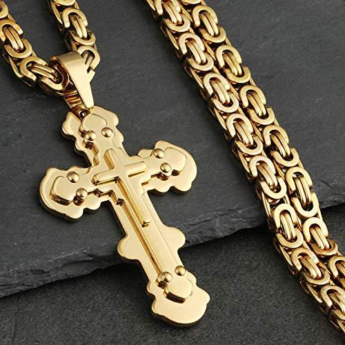 N/G Collar de la Biblia para Hombre, Colgante de Acero Inoxidable con Cruz de Jesús de Plata, Collar de Cadena Larga para Hombre, Caja de joyería a Juego