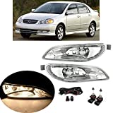 AutoJoy Club Driving Fog Lights Lamps Compatible with Toyota Camry 2002-2004, Corolla 2005-2008, Solara 2002-2003 with 9006 12V 55W Halogen Bulb Switch and Wiring Kit Clear Lens