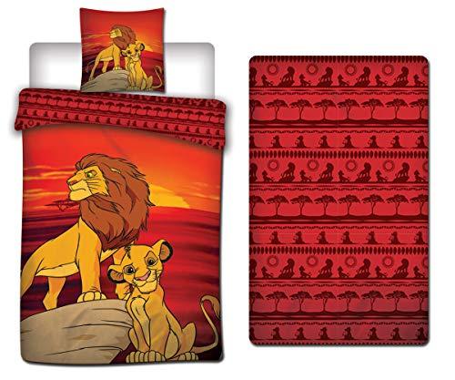LesAccessoires Disney Lion King - Juego de cama (funda nórdica de 140 x 200 cm + funda de almohada + sábana bajera de 90 x 190 cm), diseño del Rey León