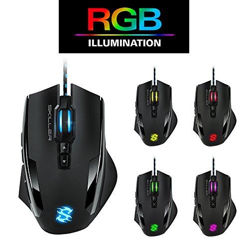 Sharkoon Skiller SGM1 Gaming Maus mit Makrotasten (10800 DPI, RGB-Beleuchtung, 12 Tasten, Weight-Tuning-System und Software) schwarz - 6