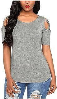 Fyuanmeiinsdxnv Womens tops summer Summer Solid Short Sleeve T-shirts Women Casual Off the Shoulder Tees Tops Distaff Elem...