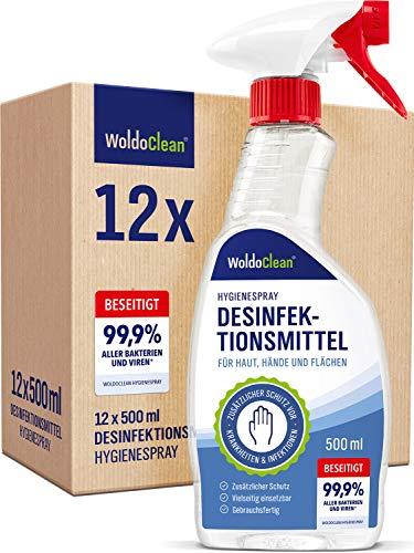 Desinfektionsmittel für Haut Hände und Flächen gegen Viren und Bakterien - 12x 500ml Spray