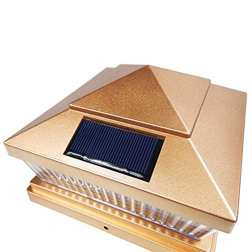iGlow 12 Pack Copper Outdoor Garden 6 x 6 Solar SMD LED Post Deck Cap Square Fence Light Landscape PVC Vinyl Wood Bronze