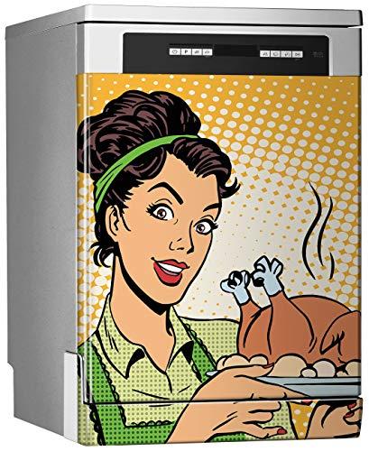 MEGADECOR Vinilo Decorativo para Lavavajillas, Medidas Estandar 67 cm x 76 cm, Pop Art, Mujer con Pavo Asado en Sus Manos