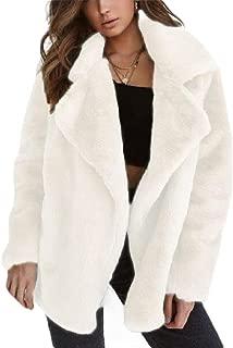 Womens Casual Warm Faux Shearling Coats Jackets Long Sleeve Lapel Fluffy Fur Outwears