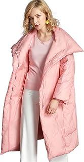 Women's Plus Size Down Jacket Lapel Loose Winter Long Puffer Down Coat 90% White Duck Down Warm Jacket,Pink,6XL