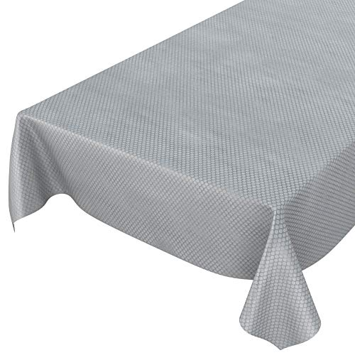 ANRO - Mantel de hule lavable, para mesa, 95% PVC, 5% poliéster., Puntos plateados, aspecto textil., 100 x 140cm Schnittkante ⭐