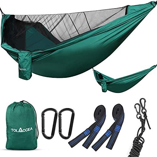 Tolaccea Moskito Netz Camping Hängematte Fallschirmmaterial, leichte und tragbare Hängematte für drinnen, draußen, wandern, Camping, Rucksackreisen, Reisen, Garten, Strand