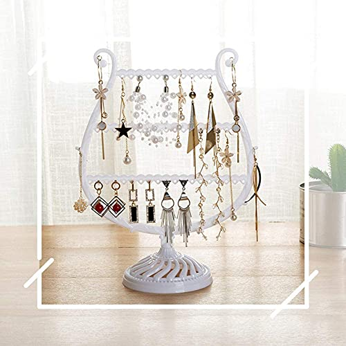 Recet Joyero creativo en forma de copa de vino, pendientes, pulsera, estante para joyas, expositor de joyas, rack de cuernos, árbol, caja de almacenamiento (blanco)
