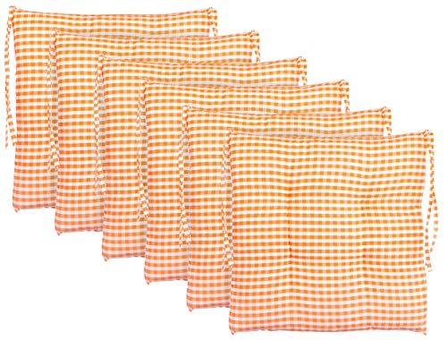 BRANDSSELLER Cojín de asiento para silla a cuadros, cojín para el jardín, 40 x 40 cm, color antracita, gris claro, marrón, beige (paquete de 6 unidades), color naranja