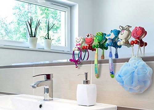marvel toothbrush holders BOLICA Toothbrush Holder,Cute Cartoon Animal Toothbrush Holder with Suction Cup,Kids Toothbrush Holder,Suction Cup Hook 6 Pcs