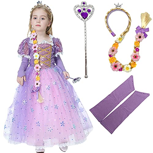 Deaboat Rapunz Princess Dress Longhair Costume Queen Dress Up Cosplay Outfit for Girls Toddlers (Purple, 3T-4T) (Light Purple, 4T-5T)