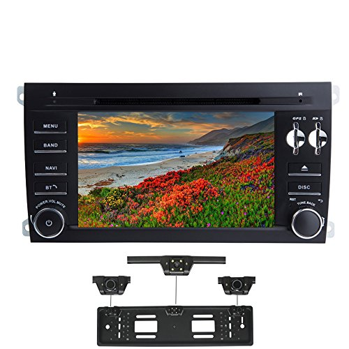 XISEDO Android 7.1 Autoradio 2 Din In-dash Car Radio 7' Car Stereo RAM 2G Navigatore GPS con Lettore DVD per Porsche Cayenne (2003-2010) (con Carta Targhetta Auto con Radar di Parcheggio)