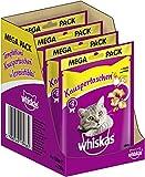 Whiskas Katzensnacks Knuspertaschen mit Huhn & Käse, 4 Packungen (4 x 180 g)