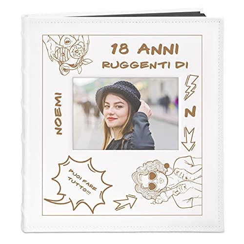 Maverton Album Fotografico Personalizzato con Incisione a Laser - Copertina Rigida in Pelle Sintetica con Finestra - 60 pagine - 240 foto 10x15 cm - regalo donna - 18 anni