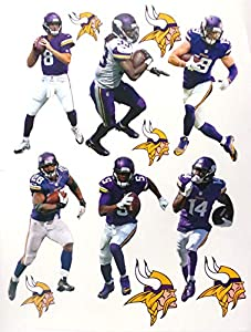 "FATHEAD Minnesota Vikings Mini Team Set Official NFL Vinyl Wall Graphics - Each Player 7"" INCHES Tall"