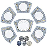 BETEAM Woven Vinyl Placemats for Dining Table Durable Washable Placemats for Round Table,Placemats Set of 6 Blue White