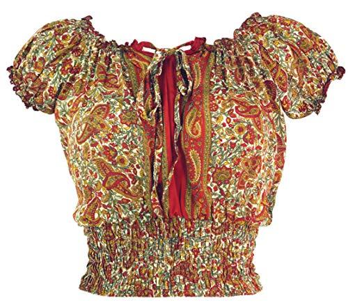 Guru-Shop Blusentop Boho Chic, Hippie Bluse, Damen, Rostorange, Synthetisch, Size:38, Blusen & Tunikas Alternative Bekleidung