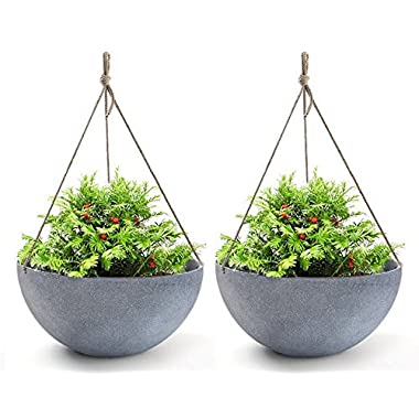 Hanging Planters Large 13.2 In Resin Flower Pots Outdoor, Garden Planters for Plants, Large Grey, Set of 2 for Fathers Day Gift