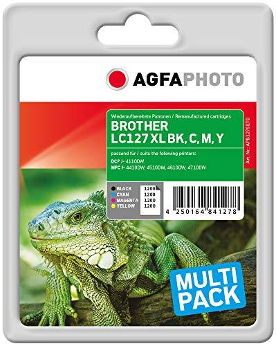 AgfaPhoto APB127SETD Remanufactured Tintenpatronen Pack of 4, Schwarz, Cyan, Magenta, Gelb